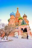 A catedral da manjericão de Saint em Moscovo fotografia de stock