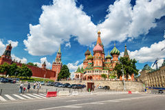 Catedral da manjericão de Saint no quadrado vermelho em Moscou, Rússia. (Pokr foto de stock royalty free