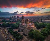 A catedral da suposição em Varna, vista aérea Fotografia de Stock Royalty Free