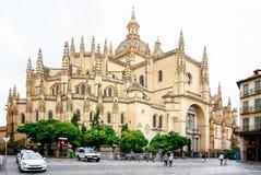 Catedral de圣玛丽亚de塞戈维亚在历史名城塞戈维亚,卡斯蒂利亚y利昂,西班牙 图库摄影
