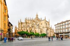 Catedral de圣玛丽亚de塞戈维亚在历史名城塞戈维亚,卡斯蒂利亚y利昂,西班牙 库存图片