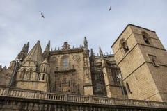 Catedral de普拉森西亚,西班牙圣玛丽亚侧向门面  图库摄影