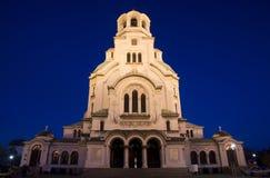 Catedral de Alexander Nevsky en la noche Foto de archivo libre de regalías