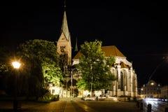 Catedral de Augsburg en la noche Imagen de archivo