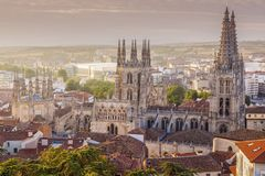 Catedral de Burgos en Plaza de San fotografía de archivo libre de regalías