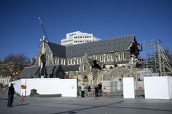 Catedral de Christchurch debajo del construstion fotografía de archivo
