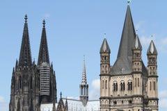 Catedral de Colónia e St. bruto Martin Fotos de Stock Royalty Free