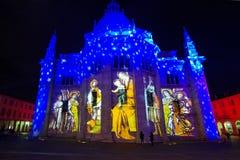 Catedral de Como con imágenes de la familia santa Fotografía de archivo