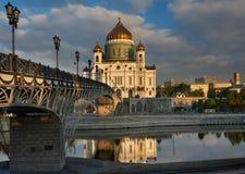 Catedral de Cristo el salvador cerca del río de Moskva, Moscú Russi Fotografía de archivo