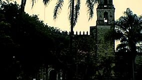 Catedral de Cuernavaca bell tower of Mexico. Bell tower of the Mexican Catedral de Cuernavaca. Archival of Mexico in Morelos state, South America in 1970s stock video