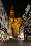 Catedral de Estrasburgo - tiro de la noche Imagen de archivo