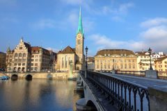 Catedral de Fraumuenster em Zurique Fotos de Stock Royalty Free