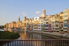 Catedral de Girona e iglesia II del St Felix Imagen de archivo