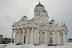 Catedral de Helsínquia em um dia de inverno nebuloso em Helsínquia, Finlandia Fotografia de Stock Royalty Free