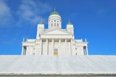 Catedral de Helsínquia no inverno fotografia de stock royalty free