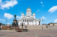 Catedral de Helsínquia no quadrado do Senado, Finlandia imagens de stock
