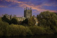 Catedral de Hereford no por do sol Fotografia de Stock Royalty Free