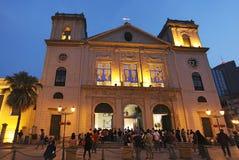 Catedral de Igreja a Dinamarca Sé (igreja da natividade de nossa senhora) na noite em Macau Fotos de Stock Royalty Free