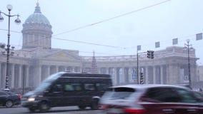 Catedral de Kazán en invierno almacen de metraje de vídeo