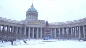 Catedral de Kazán en invierno almacen de video