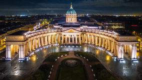 Catedral de Kazán en la opinión aérea de St Petersburg fotografía de archivo