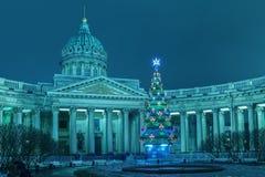 Catedral de Kazán en St Petersburg, la Navidad Foto de archivo libre de regalías