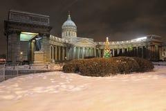 Catedral de Kazan Cuadrado de Kazán ` S Petersburgo del Año Nuevo Fotos de archivo