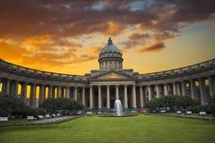 Catedral de Kazan na cidade de St Petersburg fotos de stock royalty free