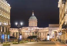 Catedral de Kazan na perspectiva de Nevsky em St Petersburg - Rússia fotos de stock