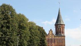 Catedral de Koenigsberg en la isla de Kneiphof Kaliningrado, Rusia Torre gótica con un reloj Opinión de perspectiva a lo largo de metrajes