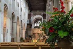Catedral de la abadía del St Albans Normando, gótico foto de archivo