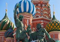 Catedral de la albahaca del santo en el cuadrado rojo, Moscú Imagenes de archivo