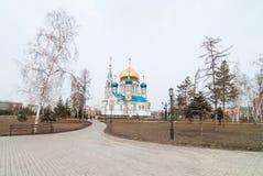 Catedral de la asunción en Omsk Foto de archivo libre de regalías