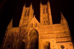 Catedral de Lincoln en la noche Imágenes de archivo libres de regalías