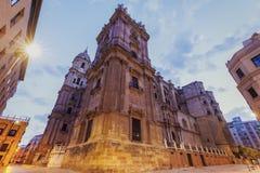 Catedral de Málaga en el amanecer imágenes de archivo libres de regalías
