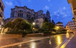 Catedral de Málaga en la noche fotos de archivo libres de regalías