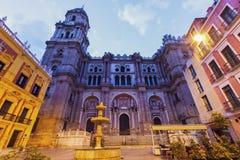 Catedral de Málaga en la noche foto de archivo