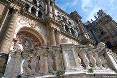 Catedral de M?laga, Espa?a Viejas vistas de las paredes de piedra fotografía de archivo libre de regalías