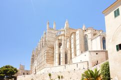 Catedral de Mallorca on sky background, Palma de Mallorca, Spain 30.06.2017. Catedral de Mallorca on sky background, Palma de Mallorca Spain 30.06.2017 Stock Photography