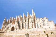 Catedral de Mallorca on sky background, Palma de Mallorca, Spain 30.06.2017. Catedral de Mallorca on sky background, Palma de Mallorca Spain 30.06.2017 Royalty Free Stock Photo