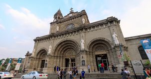 Catedral de Manila situada no distrito intra muros de Manila video estoque