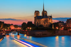 Catedral de Notre Dame de Paris no por do sol Fotografia de Stock Royalty Free