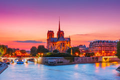 Catedral de Notre Dame de Paris no por do sol, França Imagem de Stock