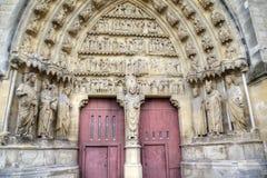 Catedral de Notre-Dame de Reims Elementos de la decoración Reims, Francia Foto de archivo