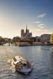 Catedral de Notre Dame e barco sightseeing em Paris Foto de Stock
