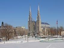 Catedral de Notre-Dame en Ottawa en un día de invierno con nieve y árboles desnudos foto de archivo libre de regalías