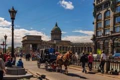 Catedral de nuestra señora Kazan, St Petersburg, Rusia Imágenes de archivo libres de regalías