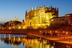 Catedral de Palma de Mallorca Majorca church Cathedral copyspace. Night Spain travel traveling tourism Royalty Free Stock Photo