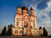 Catedral de Pantaleon del santo en Kiev en la oscuridad Foto de archivo libre de regalías