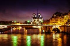 Catedral de Paris na noite fotografia de stock